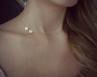 Gold-Filled Hand Stamped Asymmetrical Necklace - Handmade Jewelry - XO Necklace - Minimalist Jewelry - Gold Heart Necklace - Hand Stamped