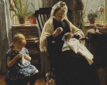 Sewing With Grandmother PDF Cross Stitch Pattern