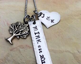 Hand Stamped Stainless Steel Wedding / Bride / Anniversary Necklace