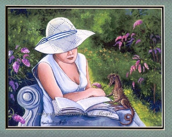 MATTED FANTASY PRINT; 11 x 14 inch, wall art, woman and miniature dragon, reading book, garden, flowers,