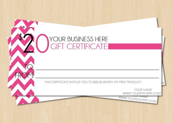 DIY Printable Direct Sales Pink Chevron Gift Certificate - Includes 4 ...