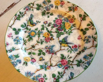 Lorna Doone blue bird chintz midwinter cake stand 1940