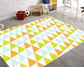Orange and Blue Nursery- Nursery Rug- Boys Nursery Decor- Nursery Floor Rug- Geometric Rug- Kids Room Rugs- Teen Room Decor- Kids Floor Rugs