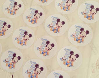 12 round stickers 4 cm, Mickey Mouse baby, customized to your liking