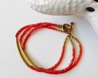 Multi Strand Red Bracelet.