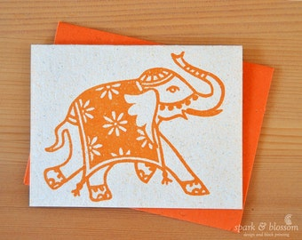 Greeting Card - Rajasthani Elephant | India art | boho blank card | eco friendly art | hand block printed on natural paper with orange ink