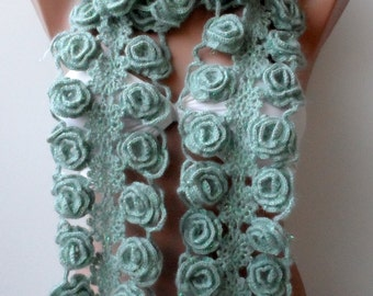 Handmade Crocheted Rose scarf Special gifts for Mothers Crochet flower scarf Lariat Crochet scarf neckscarf Women Fashion Trend Green scarf