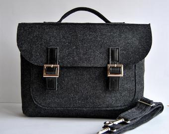 """SALE ! Felt leather laptop bag 15"""" with leather briefcase 15 MacBook Pro laptop, urban felt bag, Common Laptop Leather Felt laptop briefcase"""