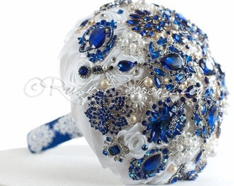 """Royal Blue Wedding Brooch Bouquet. """"Royal Signature"""" Crystal Pearl Heirloom Bouquet, Sapphire Blue Bridal Broach Bouquet, by Ruby Blooms"""