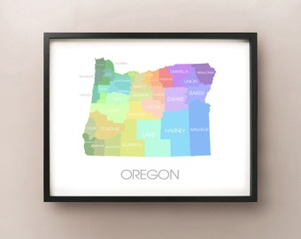 Oregon State Map - Custom Print