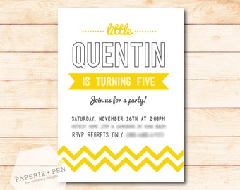 Happy Birthday, Charlie! Chevron Modern Birthday or Shower Invitation, 2-3 Day Turnaround!