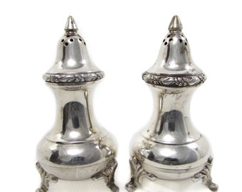 Patinated Ornate Silver Plate Footed Salt and Pepper Shaker Set Floral India