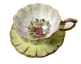 Royal Sealy Courting Couple Fragonard Japan Courtship Lusterware Tri Footed Cup Saucer Maize Yellow Lustre Teacup