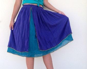 Vintage boho skirt with layers purple green