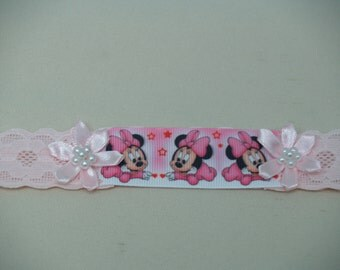 PINK Minnie Mouse lace baby band