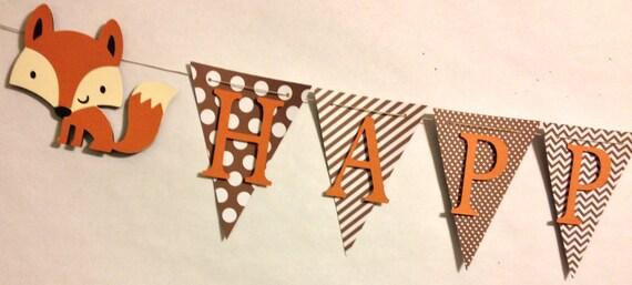 Fox themed happy birthday banner party decorations birthday for Decoration renard