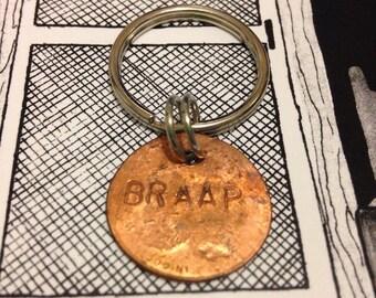 BRAAP rail penny keychain