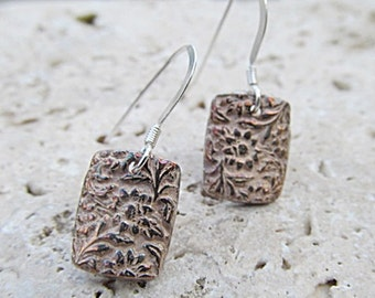 Fine SILVER Flower EARRINGS rectangular handcrafted into .999 ARTISAN jewelry for nature lovers