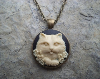 You Choose Color--Kitty Cat Cameo Necklace - Black, Green, Purple, Blue, Pink - Bronze Setting, Bronze Chain - Christams