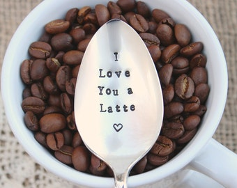 Coffee Spoon I Love You a Latte - Message Stir Stick Vintage Silver Plated  - Stocking stuffer - Gift - Hand Stamped