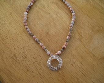 one of a kind vintage sterling pendant and jasper necklace
