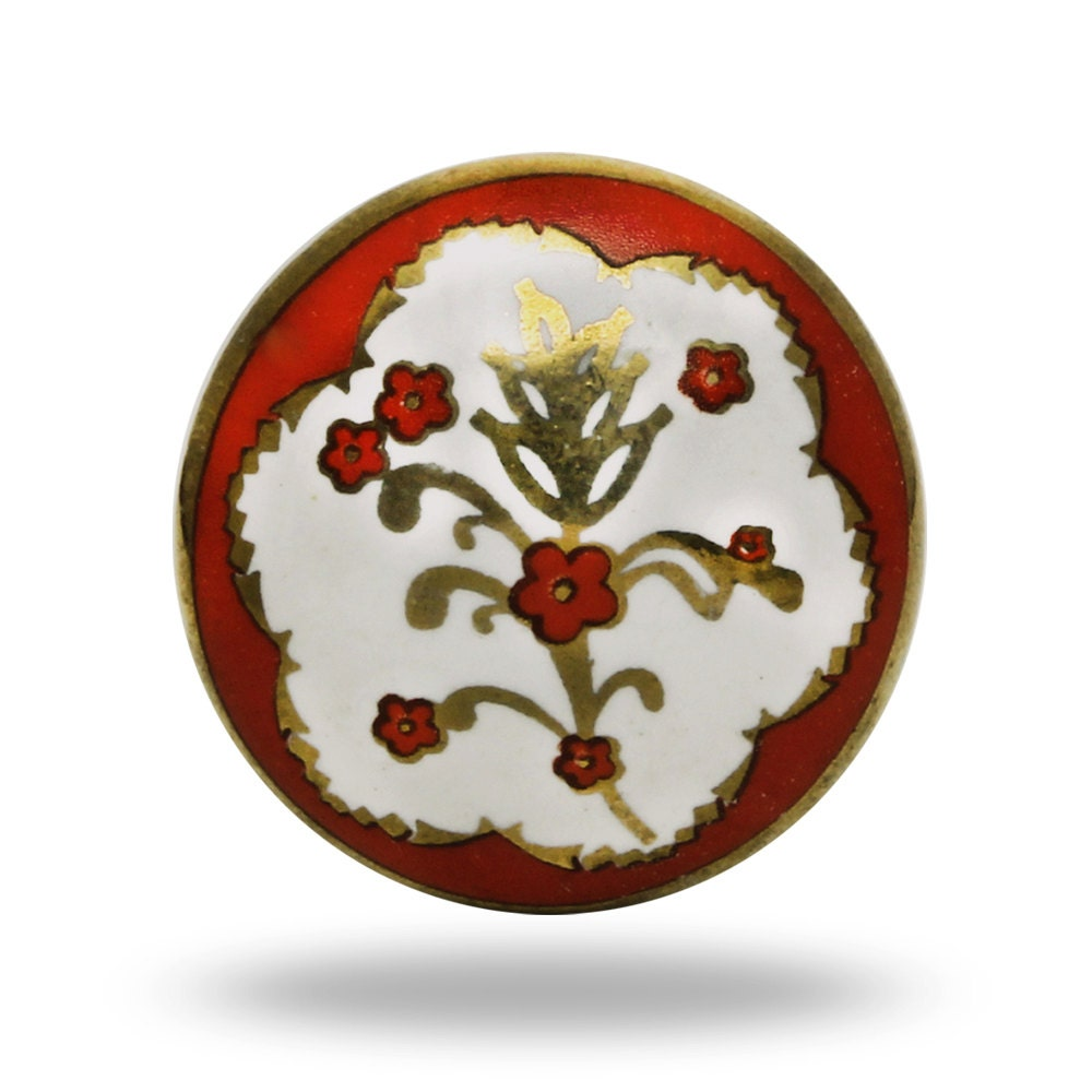 Charming red and white poitier ceramic knob round french for Bedroom bureau knobs