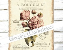 French Peony Large Image Instant Download Vintage Transfer Fabric digital collage sheet printable No. 1754