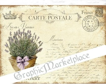 Carte Postale Lavender Flowers Provence Large Image Instant Download Vintage Transfer Fabric digital collage sheet printable No. 1706