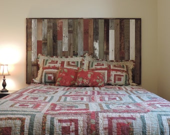 """Rustic Full Bed Panel Headboard (61.5"""" X 37.5"""") made of Reclaimed, Recycled Barn Wood. Wallmounted.  Your Choice of Accent Colors"""