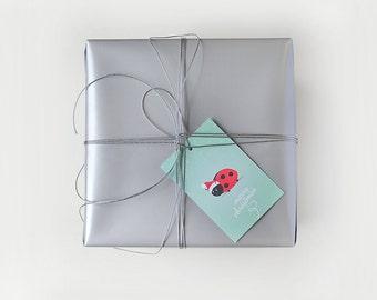 Gift Tag Set • Pack of 8 • Magical Christmas by Celebratink • Ladybug Santa Gift Tags • Green • Santa Hat