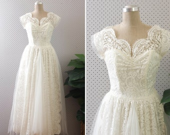storybook romance dress // vintage 1950s lace wedding dress
