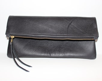 Leather Zip Clutch