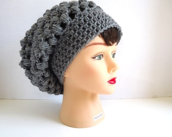 Crochet Slouchy Hat - Grey Slouchy Hat - Mens Slouchy Beanie - Womens Hat Trendy - Grey Beanie - Grey Hat - Fall Hat - Ready To Ship