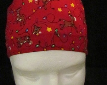 Rudolph the Red Nosed Reindeer  Christmas Lights Stars Tie Back Surgical Scrub Hat Cap