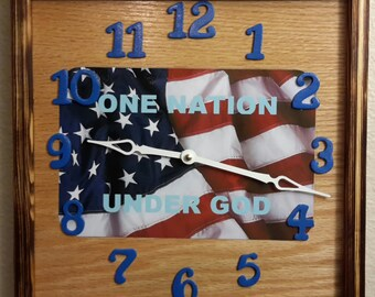 Handcrafted One Nation Under God Clock   price reflects 20% discount