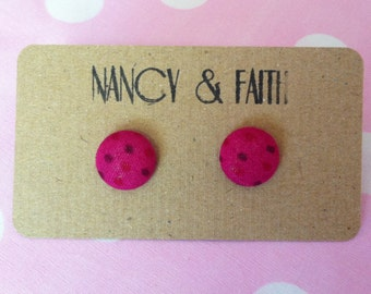 Spotty Pink Fabric Covered Earrings
