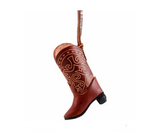 Leather Cowboy Boot Ornament /   Decoration /  Genuine Leather /  Brown Boot