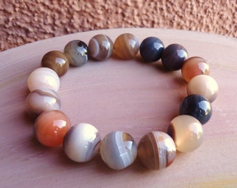 Botswana Agate Bead Bracelet//Botswana Agate Stretch Bracelet//Stackable Bracelet