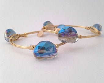 Petite Blue Crystal Wire Wrapped Gold Bangle