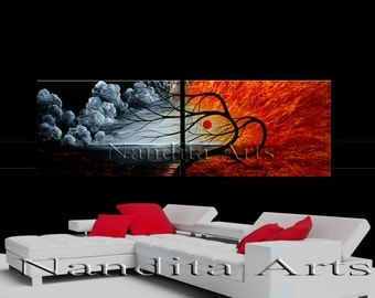 large landscape painting red original abstract painting, Scenic wall art tree art decor landscape art on canvas, Tree Painting, Artwork