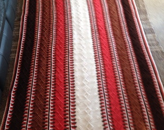 Coral And Chocolate Brown Knit Blanket/Rug