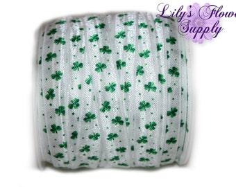 New St. Patrick's Day FOE - Shamrocks Printed Fold Over Elastic - 5/8 FOE - Choice of 5 or 10 Yards - Emerald Green Clover