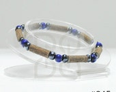 Men's Hazelwood Teen or Adult Single Bracelet Blue & Hematite natural therapeutic