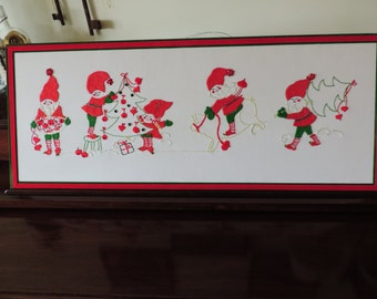 After Chistmas Sale Holiday Elves/Gnomes Deck the Halls Vintage Wall Hanging Scandanavian Design
