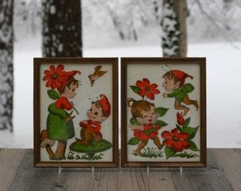 Pair of Vintage Christmas Pixie Felt Art Wall Hangings / Pixie Artwork / Two Christmas Pixie Pictures