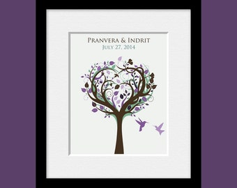 Wedding Gift, Bridal Shower Gift, Engagement Gift, Personalized Gift, Whimsical Tree Wall Art, Tree with Curly Branches and Lovebirds