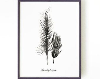 Feather print Black and white print Feather ink painting Modern black and white art Wall art Home decor SEMIPLUME 5x7 8x10 Buy 2 Get 1 FREE