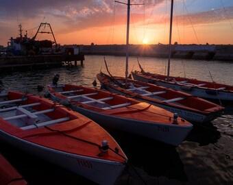 Landscape Photography, Wall Decor, Nature,  Fine Art Photograph, Beach, Seascape Photography, sunset, rock,boat, port,pier