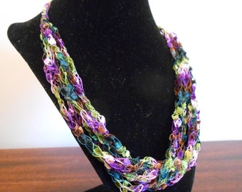 Purple, Green and Brown Trellis Necklace / Crochet Necklace Item No. 113
