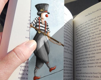 Bookmark, Gift Ideas for Boys, Gift ideas for Girls, Bookmark Gift, Kids Bookmarks, Unusual Bookmarks, Art bookmarks, Clown Tightrope walker